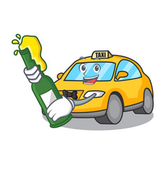With beer taxi character mascot style vector