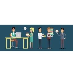 Work in Office Concept in Flat Design vector image vector image