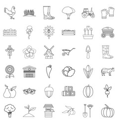 worker icons set outline style vector image
