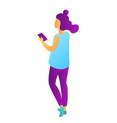 young businesswoman holding mobile phone isometric vector image