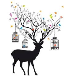 deer with birds and birdcages vector image vector image
