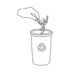 emission of banana peel into the garbage can for vector image vector image