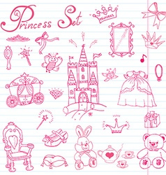 Hand drawn set of princess sign Castel throne and vector image