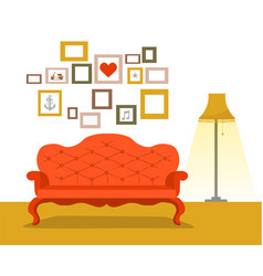 retro red sofa with lamp in flat style vector image