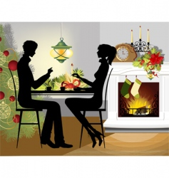 Christmas dinner vector image vector image
