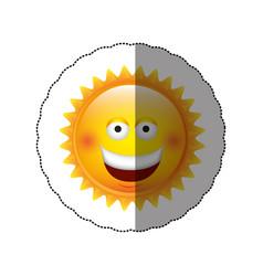 color sticker happy sun icon vector image
