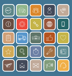 customer service flat icons on blue background vector image
