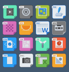 square file types and formats labels icons vector image