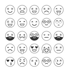 black and white linear flat icons of emoticons vector image vector image