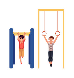 boys hanging on gymnastic rings and monkey bars at vector image vector image