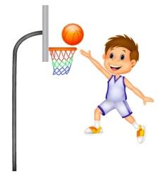 Cartoon boy playing basket ball vector image