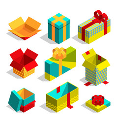 different christmas box for gifts isometric vector image