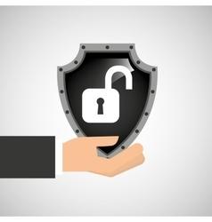 hand holding padlock security shield data vector image