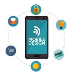 Mobile design connection media social icons vector