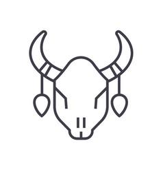 bull skull line icon sign on vector image