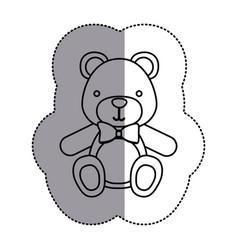 contour teddy bear with tie icon vector image