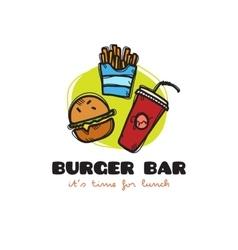 Funny cartoon style snack bar logo with vector