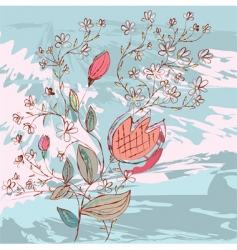 grunge background with flowers vector image vector image