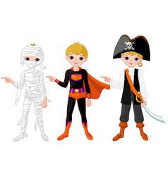 halloween boy pointing vector image vector image
