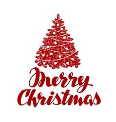 Merry Christmas Xmas tree vector image vector image
