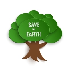 Save the Earth Stamp on Paper Cut Tree vector image