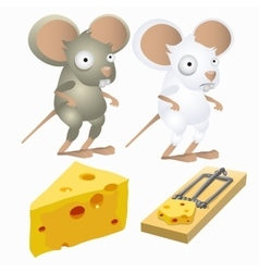 Two silly mice and piece of cheese in mousetrap vector image