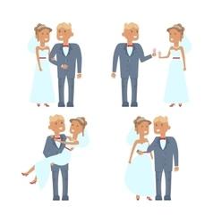 wedding couple characters vector image vector image