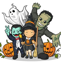 Witch Vampire Frankenstein Ghost Pumpkin Greeting vector image