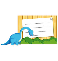 A dinosaur on note template vector