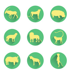 African animals silhouettes on the substrates vector