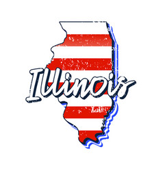 american flag in illinois state map grunge style vector image