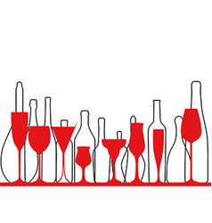 Background glass and bottle of wine vector