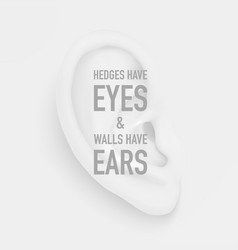 background with realistic human ear closeup vector image