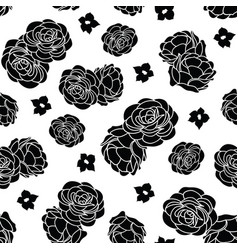 black and white rose garden seamless repeat vector image