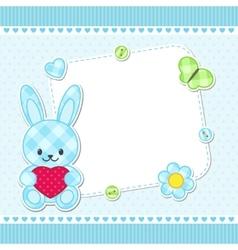 Blue bunny card vector