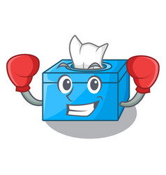 Boxing character tissue box on wood floors vector