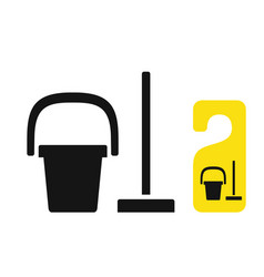 bucket and mop cleaning symbol vector image