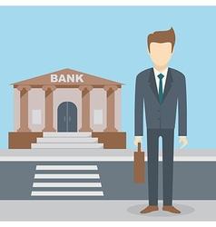 Businessman bank building vector image