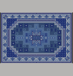 Carpet with blue bluish and beige shades on black vector