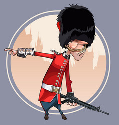 cartoon soldier of the royal guard points a finger vector image