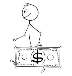 Cartoon wealthy successful walking man vector