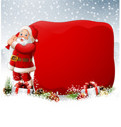 christmas background with santa pulling a huge bag vector image
