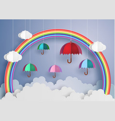 colorful umbrella in the air with rainbow vector image