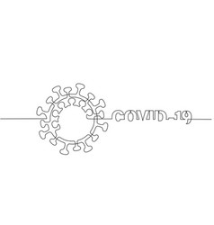 Covid-19 continuous one line symbol concept vector