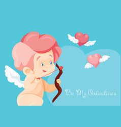 Cupid hunting with archey bow flying hearts cupid vector