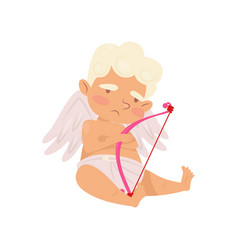 cute angel of love sitting with sad face vector image