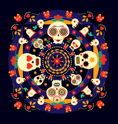 day of the dead sugar skull holiday background vector image