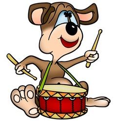 Dog drummer vector