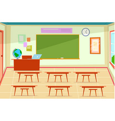 empty classroom class room interior with desk vector image