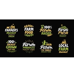 Farm fresh labels Farmer icon Farming logo vector